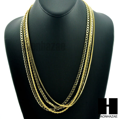 HIP HOP 4 CHAINS ROPE, BOX, GUCCI & MIAMI CUBAN LINK NECKLACE CHAIN SET GN158G - Raonhazae