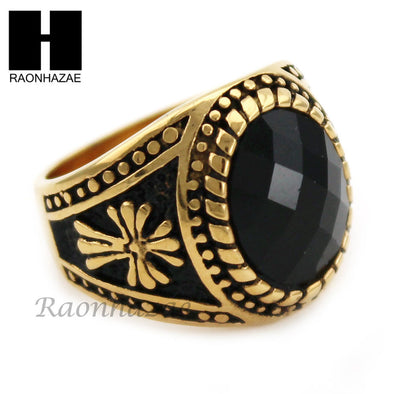 MEN STAINLESS STEEL HIP HOP CROSS 14K GOLD TONE BLACK ONYX RING 8-12 SR033CL - Raonhazae