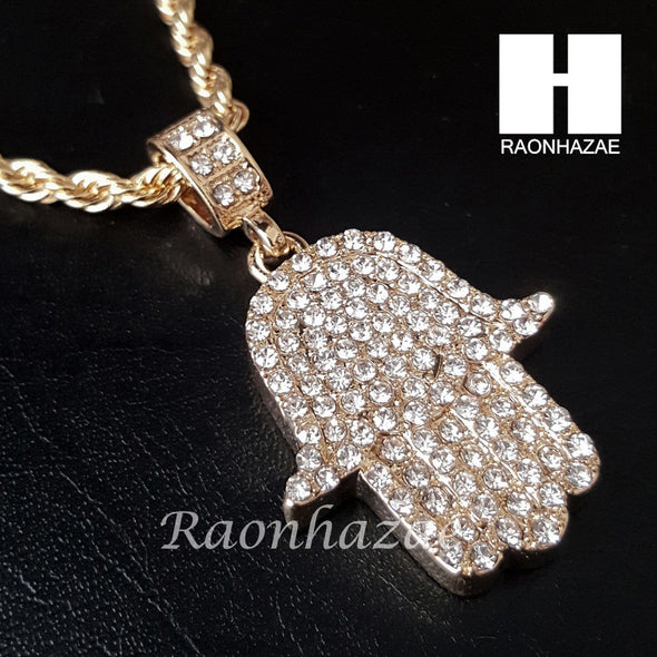 "MEN ICED OUT BLING GOLD HAMSA PENDANT 30"" CUBAN LINK CHAIN NECKLACE SET S95G - Raonhazae"