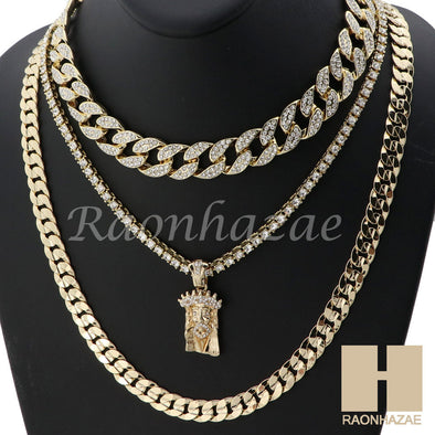 "14K GOLD PT JESUS FACE ICED OUT MIAMI CUBAN 16""~30"" CHOKER TENNIS CHAIN S27 - Raonhazae"