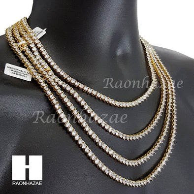 "Quality 3 Prong Choker Tennis Necklace Set Lab Diamond 5mm 18-24"" Chain Set M1 - Raonhazae"