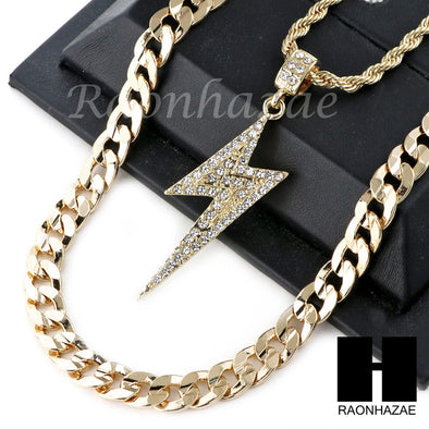"21 SAVAGE LIGHTING CHARM DIAMOND CUT 30"" CUBAN CHAIN NECKLACE SET G21 - Raonhazae"