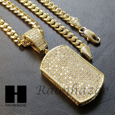 Iced Out Lab Diamond 14K Gold PT Dog Tag Pendant w/ 4mm Cuban Chain B07G - Raonhazae