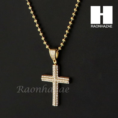 Sterling Silver .925 AAA Lab Diamond Jesus Cross w/2.5mm Moon Chain S26 - Raonhazae