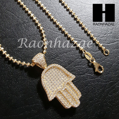 "Sterling Silver .925 AAA Lab Diamond Hamsa w/2.5mm 20"" 24"" Moon Cut Chain S44G - Raonhazae"