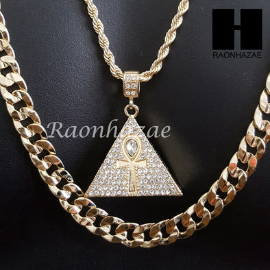 "MEN ICED OUT GOLD ANKH PYRAMID CHARM CUT 30"" CUBAN LINK CHAIN NECKLACE S081G - Raonhazae"