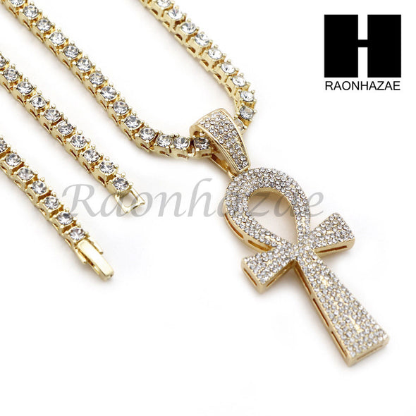 "14K GOLD PT Lil ANKH CROSS MIAMI CUBAN 16""~30"" CHOKER TENNIS CHAIN S20 - Raonhazae"