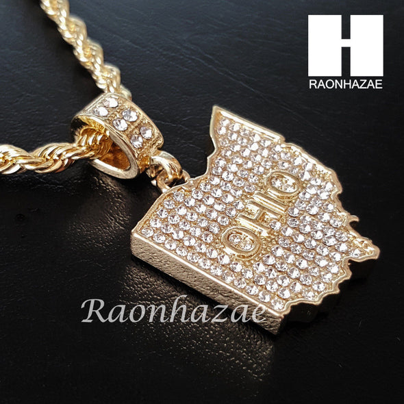 "MEN ICED OUT OHIO STATE MAP US PENDANT 30"" CUBAN LINK CHAIN NECKLACE SET S91G - Raonhazae"