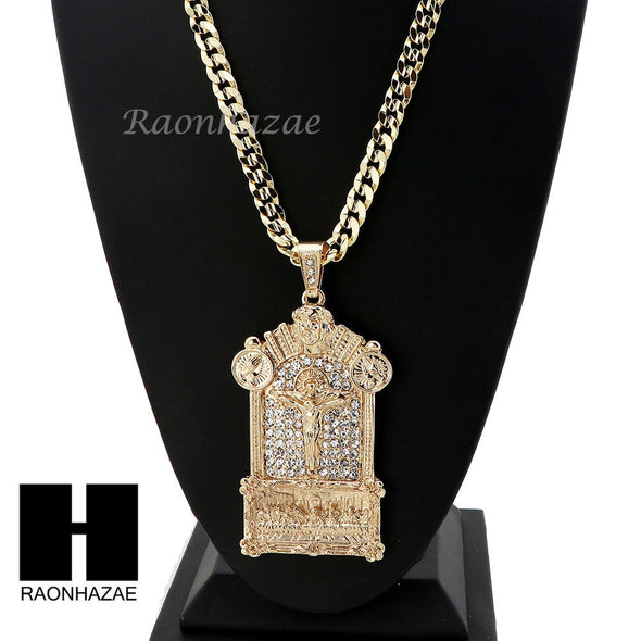 PRAYING HANDS CROSS LAST SUPPER PENDANT w/ DIAMOND CUT CUBAN LINK CHAIN - Raonhazae
