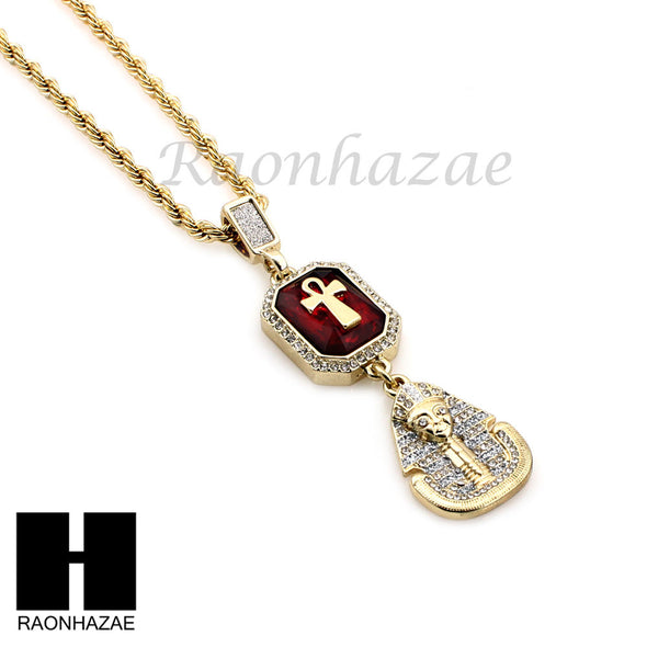 ICED OUT LAB DIAMOND GOLD CUBAN CHAIN RED RUBY KING TUT PHARAOH ANKH NECKLACES - Raonhazae