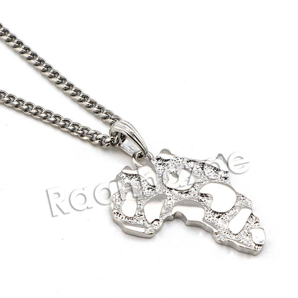 "Mens Hip Hop Rhodium Plated Nugget Pendant w/ 24"" Miami Cuban Chain B16S - Raonhazae"