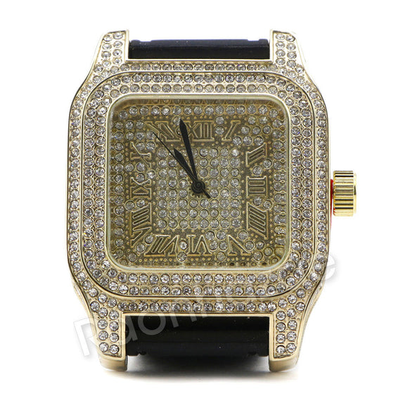 Men Simulate Diamond Gold Silver Plated Hip Hop Black Rubber Watch 27BK - Raonhazae