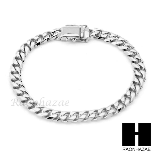 Stainless Steel White Gold Heavy 7mm Miami Cuban Link Chain Necklace Bracelet 2 - Raonhazae