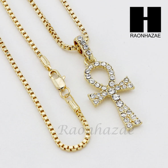 "ICED OUT RUBY ANKH PLUG PENDANT 24"" 30"" ROPE BOX CUBAN CHAIN NECKLACE SET S011 - Raonhazae"