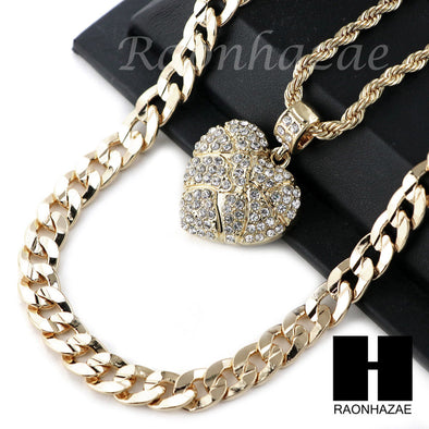 "MENS BLING HEART PENDANT DIAMOND CUT 30"" CUBAN CHAIN NECKLACE SET G31 - Raonhazae"