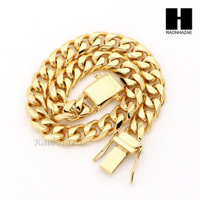 Stainless steel Gold Finish Heavy 10mm Miami Cuban Link Chain Necklace Bracelet3 - Raonhazae