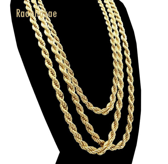 "Men Stainless Steel 14k Gold Plated 3 to7mm wide 20"" 24"" 30"" Rope Chain Necklace - Raonhazae"