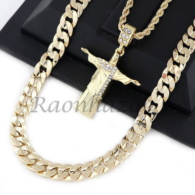 "CHRIST REDEEMER PENDANT DIAMOND CUT 30"" CUBAN ROPE CHAIN NECKLACE G47 - Raonhazae"