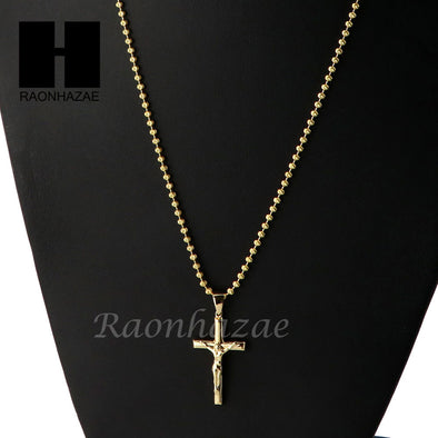 Sterling Silver .925 Christian Crucifix Cross w/ 2.5mm Moon Chain SS015 - Raonhazae