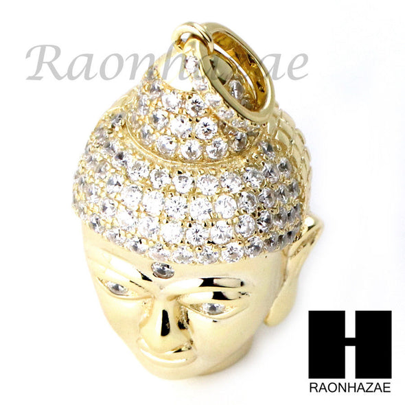 Sterling Silver .925 AAA Lab Diamond Buddah Face w/2.5mm Moon Chain S25 - Raonhazae