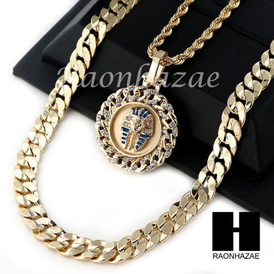 "MEN KING TUT ROPE CHAIN DIAMOND CUT 30"" CUBAN LINK CHAIN NECKLACE S016 - Raonhazae"