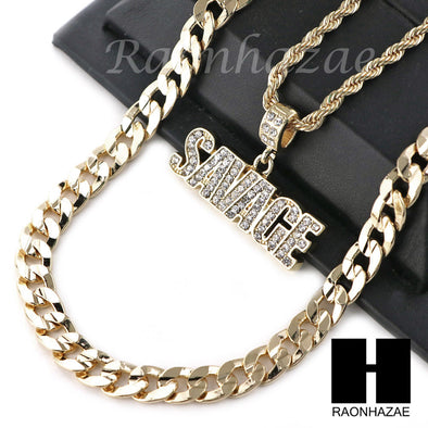 "MENS ICED OUT BLING SAVAGE PENDANT DIAMOND CUT 30"" CUBAN CHAIN NECKLACE SET G32 - Raonhazae"