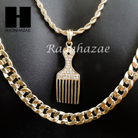"MEN ICED OUT BARBER SHOP RAZOR DIAMOND CUT 30"" CUBAN LINK CHAIN NECKLACE S076G - Raonhazae"