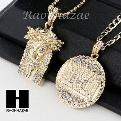 MEN ICED OUT JESUS & LAST SUPPER PENDANT BOX CUBAN CHAIN DOUBLE NECKLACE SET SD9 - Raonhazae