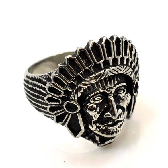 NEW US SELLER STAINLESS STEEL NATIVE AMERICAN INDIAN CHIEF APACHE RING RS130S - Raonhazae