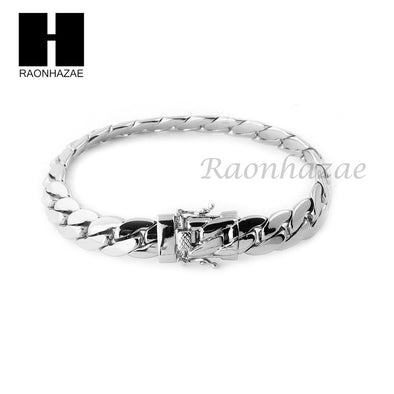 14k White Gold Finish Heavy 12mm Miami Cuban Link Chain Necklace Bracelet Set E - Raonhazae