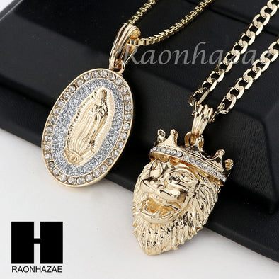 MEN ICED OUT GUADALUPE & LION PENDANT BOX CUBAN CHAIN DOUBLE NECKLACE SET SD07 - Raonhazae