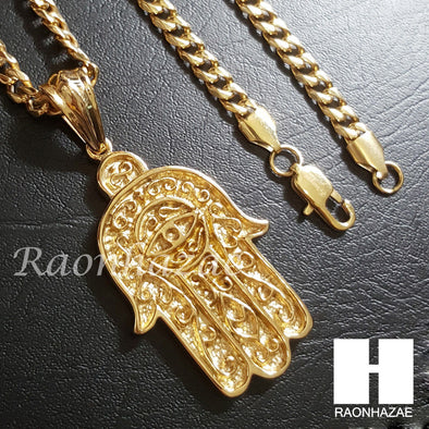 316L Stainless steel Gold Hamsa Pendant w/ 5mm Cuban Chain SG017 - Raonhazae