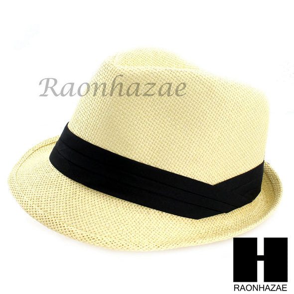 MEN WOMEN SUMMER BEACH PANAMA STRAW FEDORA TRILBY CUBAN BEIGE COLOR HAT F005 - Raonhazae