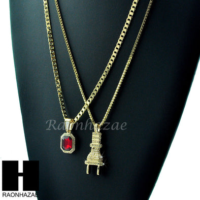 "HIP HOP ICED OUT ELECTRIC PLUG / RED RUBY 24"" BOX / CUBAN LINK CHAIN NECKLACES - Raonhazae"
