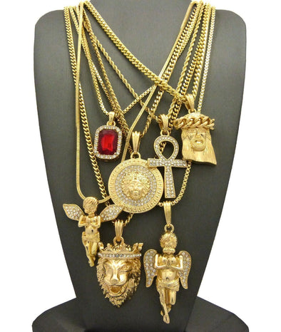 Hip Hop Ruby, 2 Angels, Jesus, Lion, Medusa, Ankh Pendant 7 Necklace Set GB112G - Raonhazae