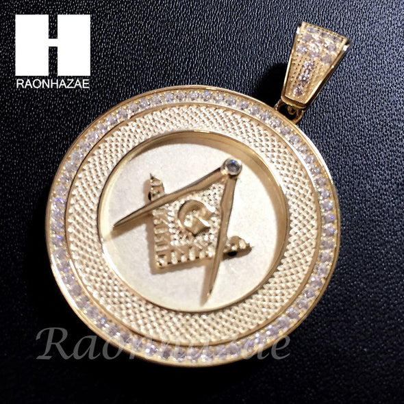 Mens Iced Out Sterling Silver .925 Lab Diamond Freemason Masonic Gold Pendant SS023SG - Raonhazae