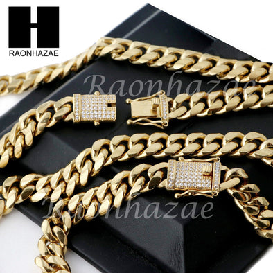 18k Gold Plated 12mm Diamond Clasp Iced Out Miami Cuban Chain & Bracelet Set S01 - Raonhazae