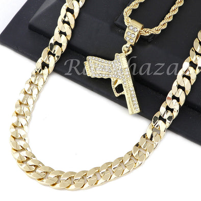"MEN HAND GUN PENDANT DIAMOND CUT 30"" CUBAN ROPE CHAIN NECKLACE G46 - Raonhazae"