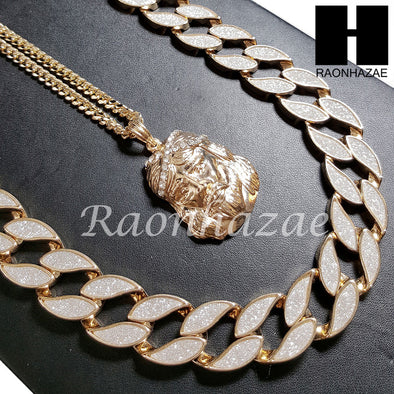 "14k Gold PT 2Pac Jesus Face 15mm Cuban 30"" Chain/ Concave Necklace S165 - Raonhazae"