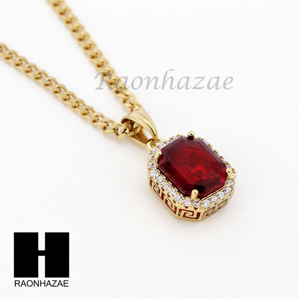 MENS STAINLESS STEEL RUBY MACHINE GUN PLUG PENDANT CUBAN NECKLACE 3PCS SET NP006 - Raonhazae