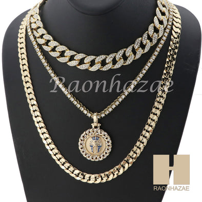 "14K GOLD PT KING TUT ROUND ICED OUT MIAMI CUBAN 16""~30"" CHOKER TENNIS CHAIN S35 - Raonhazae"