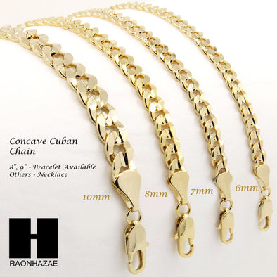 "14K GOLD PLATED CONCAVE CUBAN NECKLACE CHAIN (6-10mm) w/ (8""/9""/24""/30""/36"") - Raonhazae"