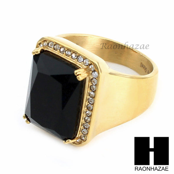 MEN ICED OUT RING 316L STAINLESS STEEL GOLD BLACK ONYX CZ RING SIZE 8-12 SR015BK - Raonhazae
