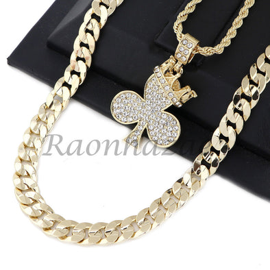 "CED OUT KING CROWN CLOVER PENDANT DIAMOND CUT 30"" CUBAN ROPE CHAIN NECKLACE G41 - Raonhazae"