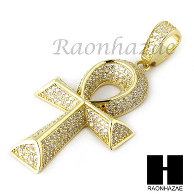 Iced Out Sterling Silver .925 AAA Lab Diamond ANKH Cross 2.5mm Moon Chain SS010 - Raonhazae