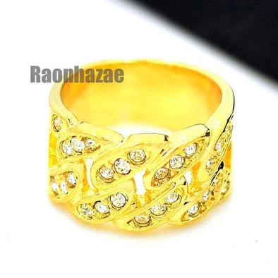 HIP HOP FASHION ICED OUT CUBAN LINK BAND STYLE GOLD PLATED RING N004G - Raonhazae