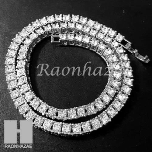 Silver Tennis Choker Necklace 1 Row Solitaire Lab Diamond 4.5mm Chain S - Raonhazae