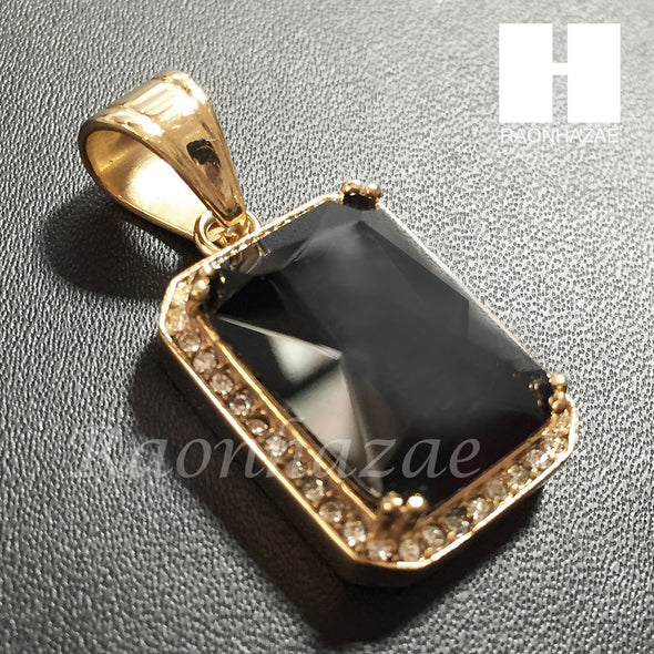 Mens Iced Out 316L Stainless steel Gold Black Onyx Mini Pendant SS013 - Raonhazae