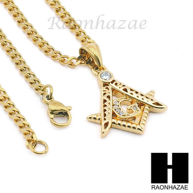 "STAINLESS STEEL FREEMASON MASONIC PENDANT 24"" CUBAN NECKLACE SET NP003 - Raonhazae"