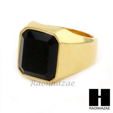 MEN STAINLESS STEEL HIP HOP 14K GOLD PLTED BLACK ONYX RING 8-12 SR030CL - Raonhazae